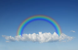 One big beautiful clouds. As background. Rainbow in the sky with clouds Stock Photography