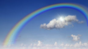 One big beautiful clouds. As background. Rainbow in the sky with clouds Royalty Free Stock Photos