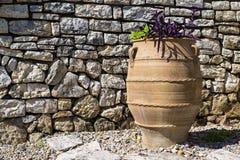 One big ceramic flowerpot of ancient greek style Stock Photo