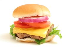 One big cheeseburger w/the works Stock Photography