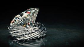 One big Diamond in nest. Royalty Free Stock Image