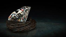 One big Diamond in nest. Stock Photo