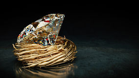 One big Diamond in nest. Stock Photography
