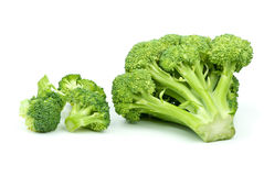 One big and few small broccoli pieces Royalty Free Stock Photos
