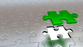 One Big Green Puzzle Piece which stay above the others. Just One Big Green Puzzle Piece which stay above the others Stock Photo
