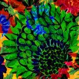 One big green vibrant flower design Stock Photography