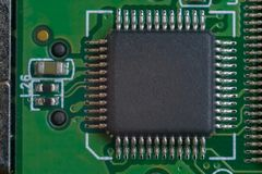 One big microscheme on green motherboard with a lot of legs. royalty free stock photography