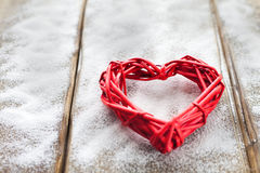 One big red heart on the background of wooden boards, Valentine`s day, the holiday of love Stock Image