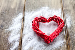 One big red heart on the background of wooden boards, Valentine`s day, the holiday of love Royalty Free Stock Images