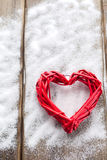 One big red heart on the background of wooden boards, Valentine`s day, the holiday of love Stock Photos