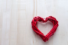 One big red heart on the background of wooden boards, Valentine`s day, the holiday of love. One big red heart on the background of wooden boards, Valentine`s day Royalty Free Stock Photos