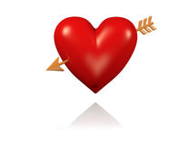 One Big and Red Heart with Golden Arrow. With White Background stock illustration