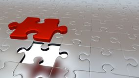 One Big Red Puzzle Piece which stay above the others. Just One Big Red Puzzle Piece which stay above the others Royalty Free Stock Photo