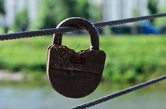 One big rusty padlock Royalty Free Stock Photos