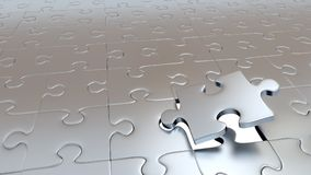 One Big Silver Puzzle Piece which getting away from the others. Only One Big Silver Puzzle Piece which getting away from the others Royalty Free Stock Photos