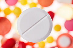 One big tablet (pill) macro view Stock Photos