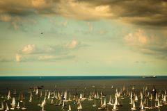 The Barcolana regatta in the gulf of Trieste. One of the biggest regatta in the world with more than 2100 boats: the Barcolana Stock Image
