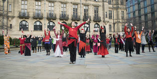 One Billion Rising Flash Mob Dance In Sheffield. Royalty Free Stock Image