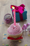 One birthday cake on table Royalty Free Stock Photo