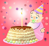 One birthday celebrate cake baby. Vector illustration Royalty Free Stock Photography