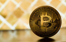 One bitcoin on gold backround Stock Photography