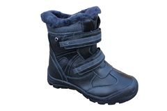Winter boots for children,One black boot is isolated on a white background, winter boots stock images