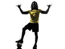 One black brazilian soccer football player man silhouette Royalty Free Stock Photo