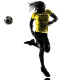 One black Brazilian soccer football player man silhouette Royalty Free Stock Images