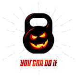 One black kettlebell with evil smile and motivation text - You C Royalty Free Stock Images