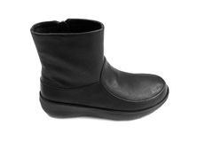 One black leather woman`s boot. Isolate Royalty Free Stock Photo