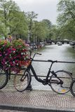 One black and orange bike in the summer day in Amsterdam. Near the canal Royalty Free Stock Image