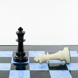 One Black win white chess Stock Photos
