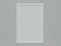 One Blank Frame Hanging over brick Wall Royalty Free Stock Photo