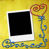 One blank instant photo frame, love card Stock Image