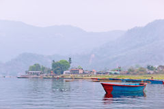 One blue boat on Phewa lake Royalty Free Stock Photography
