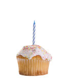 One Blue Candle. Birthday cupcake with one blue candle on white background. I have many other numbers, please see my other images. TWO CLIPPING PATHS INCLUDED Stock Photo
