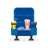 One blue chair. Blue comfortable armchairs in the cinema. Drinks and popcorn, glasses for movie Flat vector cartoon Cinema seats illustration. Objects isolated Royalty Free Stock Photo