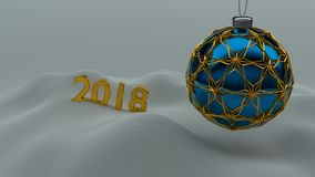 One blue christmas ball enclosed with gold ornaments. One blue christmas ball enclosed with gold ornaments hanging over snow ground. Year number 2018 made of royalty free illustration