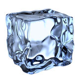 One blue clear ice cube Stock Photos