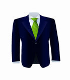 Isolated blue costume with green tie Royalty Free Stock Photos