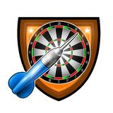 One blue darts with round target in center of shield isolated on white. Sport logo for any darts game or championship royalty free illustration
