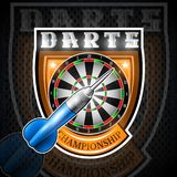 One blue darts with round target in center of shield. Sport logo for any darts game or championship royalty free illustration