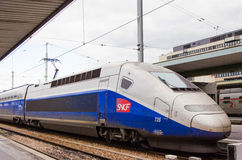 One blue and grey tgv high-speed train sncf Stock Photos