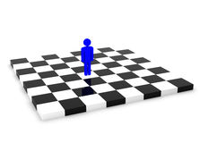One Blue Human Figure Standing Alone on the Chessboard. One Blue Human Figure Standing Alone on the Empty Chessboard Stock Photos
