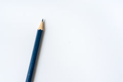 One blue pencil isolated on white Stock Photos