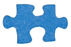 One blue piece of jigsaw puzzle close up Royalty Free Stock Photography
