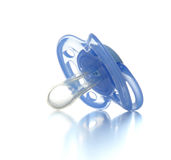 One blue plastic nipple pacifier soother isolated Royalty Free Stock Photos