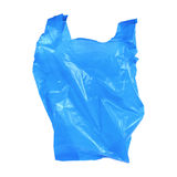 one blue recycled plastic bag isolated on white Stock Photography