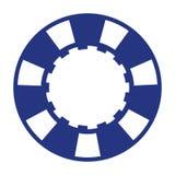 Blue white casino poker chip. One blue white casino poker chip on white background Royalty Free Stock Images
