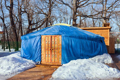 One blue yurt  in the winter park Stock Photo